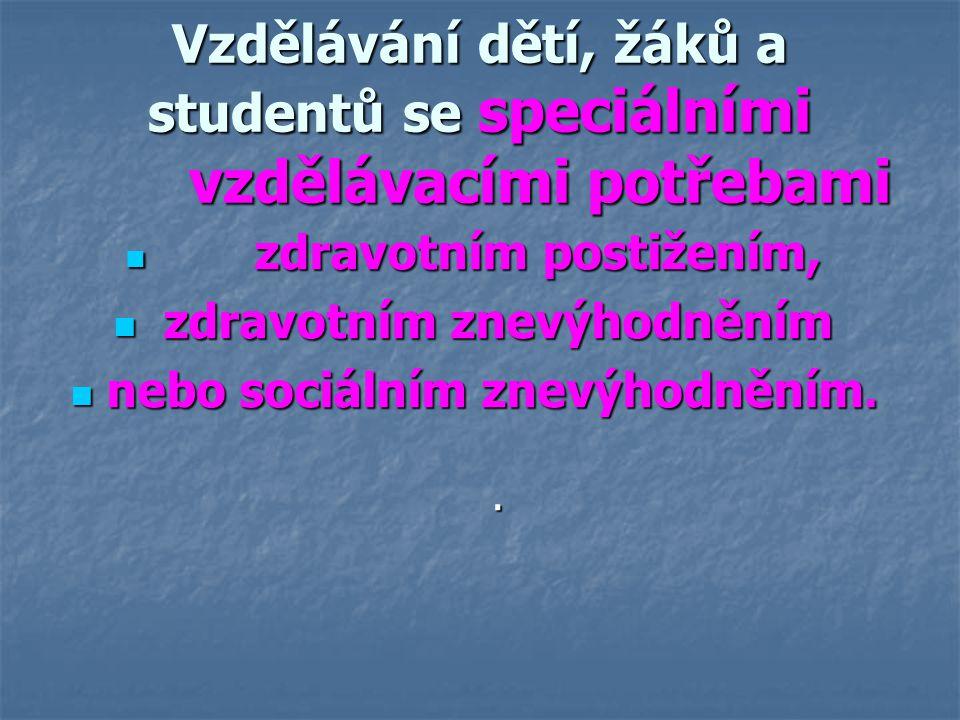 Vzdělávání dětí, žáků a studentů se speciálními vzdělávacími potřebami zdravotním postižením, zdravotním postižením, zdravotním znevýhodněním zdravotn