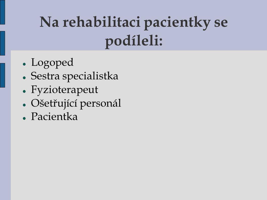 Na rehabilitaci pacientky se podíleli: Logoped Sestra specialistka Fyzioterapeut Ošetřující personál Pacientka
