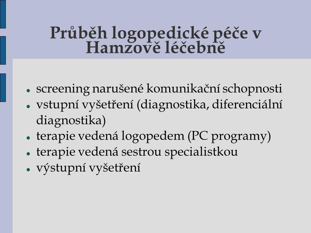 Průběh logopedické péče v Hamzově léčebně screening narušené komunikační schopnosti vstupní vyšetření (diagnostika, diferenciální diagnostika)  terap