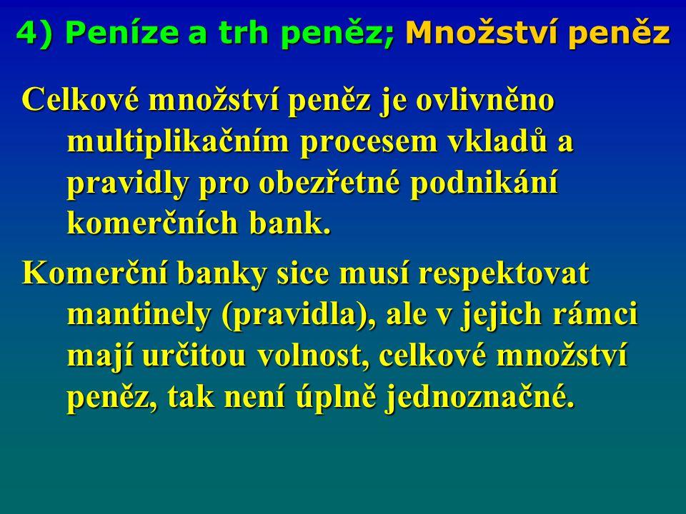 4) Peníze a trh peněz; Nástroje ČNB Banky udržují pouze povinné minimální rezervy tzv. PMR