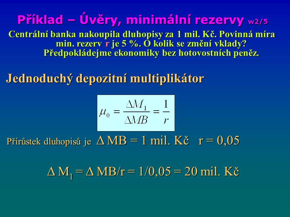 Příklad – Úvěry, minimální rezervy w2/6 Celkové množství vkladů vzrostlo o 1 mil.