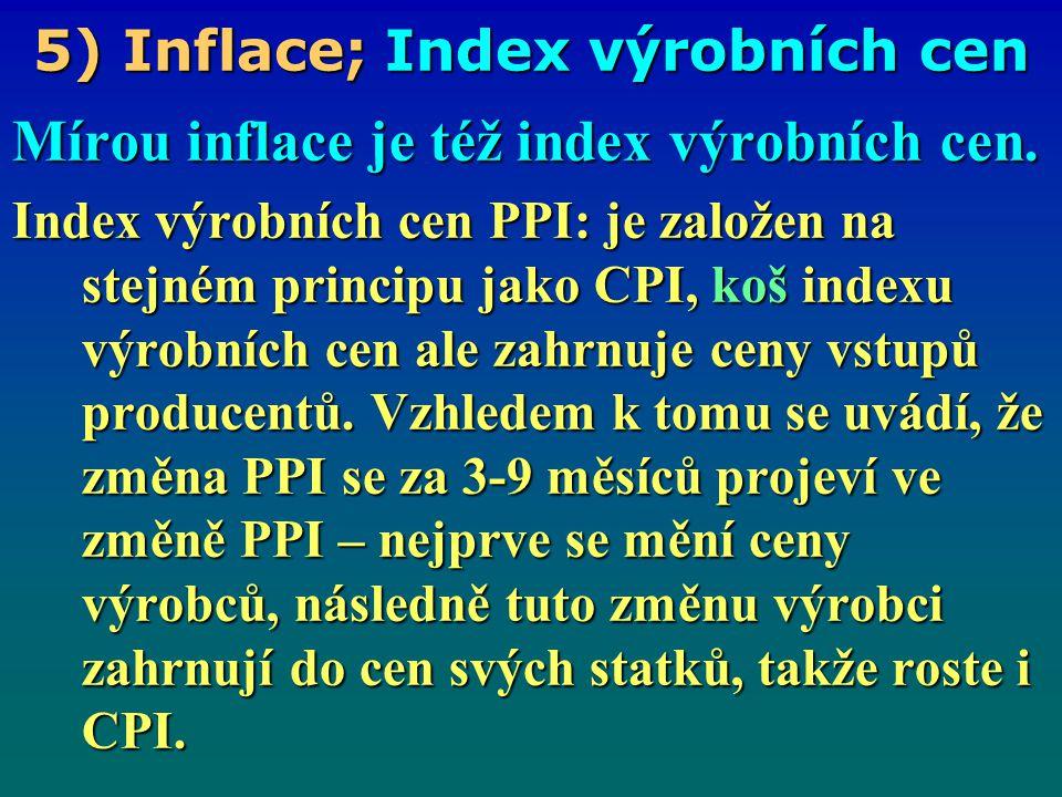 5) Inflace; Míra inflace Míra inflace je tempo růstu cenové hladiny kde: 0 … základní období t … běžné období 0 … základní období t … běžné období P t … cenová hladina v běžném období, P t … cenová hladina v běžném období, P 0 … cenová hladina v základním období P 0 … cenová hladina v základním období