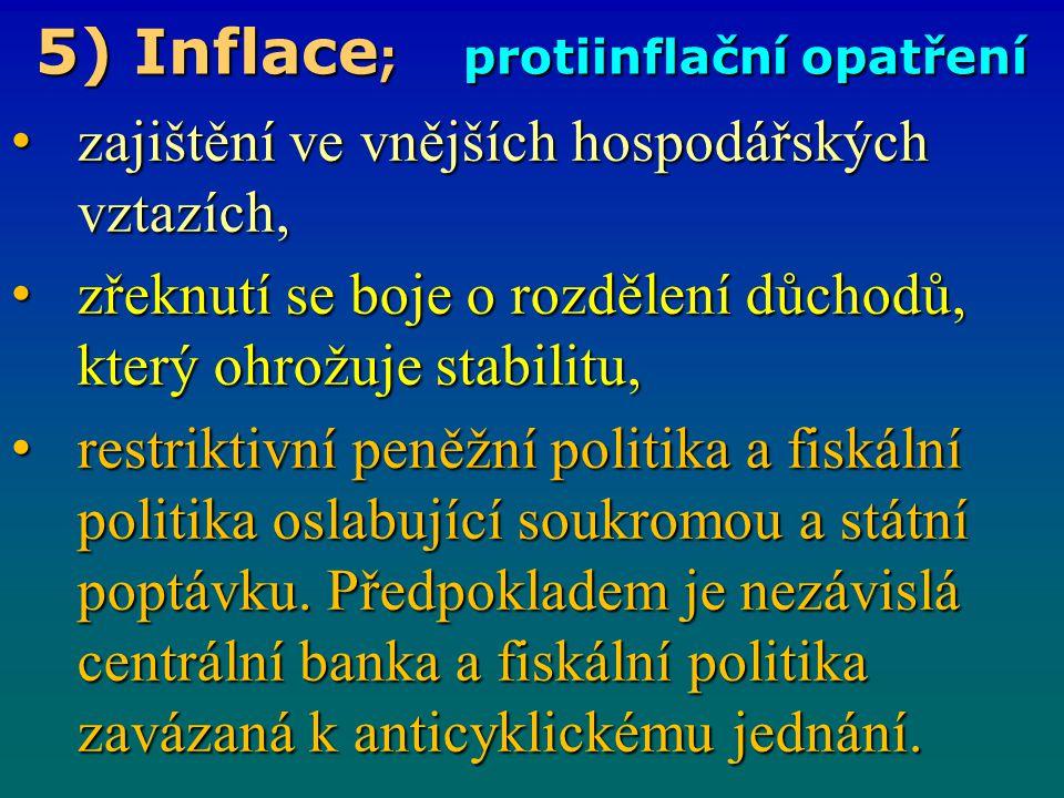 5) Inflace ; důsledky setrvačnosti inflace K setrvačné inflaci dochází tehdy, pokud míra inflace zůstává stejná, ačkoliv pominuly příčiny, které ní.