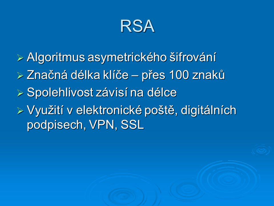 RSA  Algoritmus asymetrického šifrování  Značná délka klíče – přes 100 znaků  Spolehlivost závisí na délce  Využití v elektronické poště, digitálních podpisech, VPN, SSL