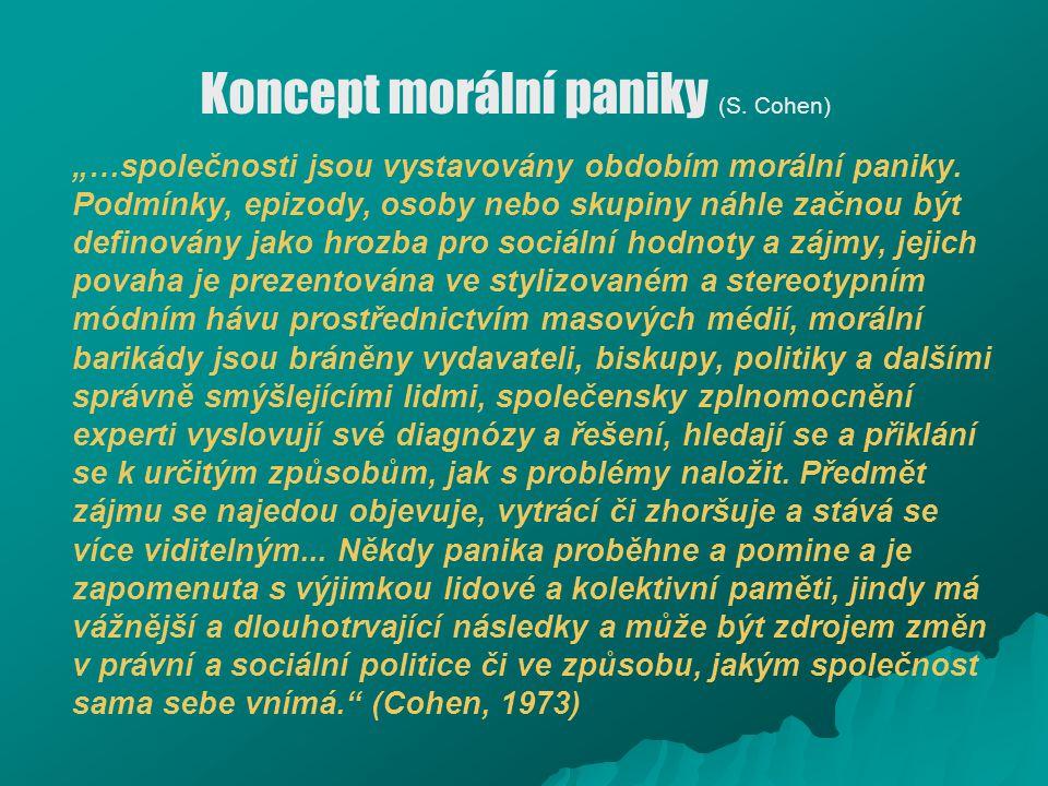 """Koncept morální paniky (S. Cohen) """"…společnosti jsou vystavovány obdobím morální paniky. Podmínky, epizody, osoby nebo skupiny náhle začnou být defino"""