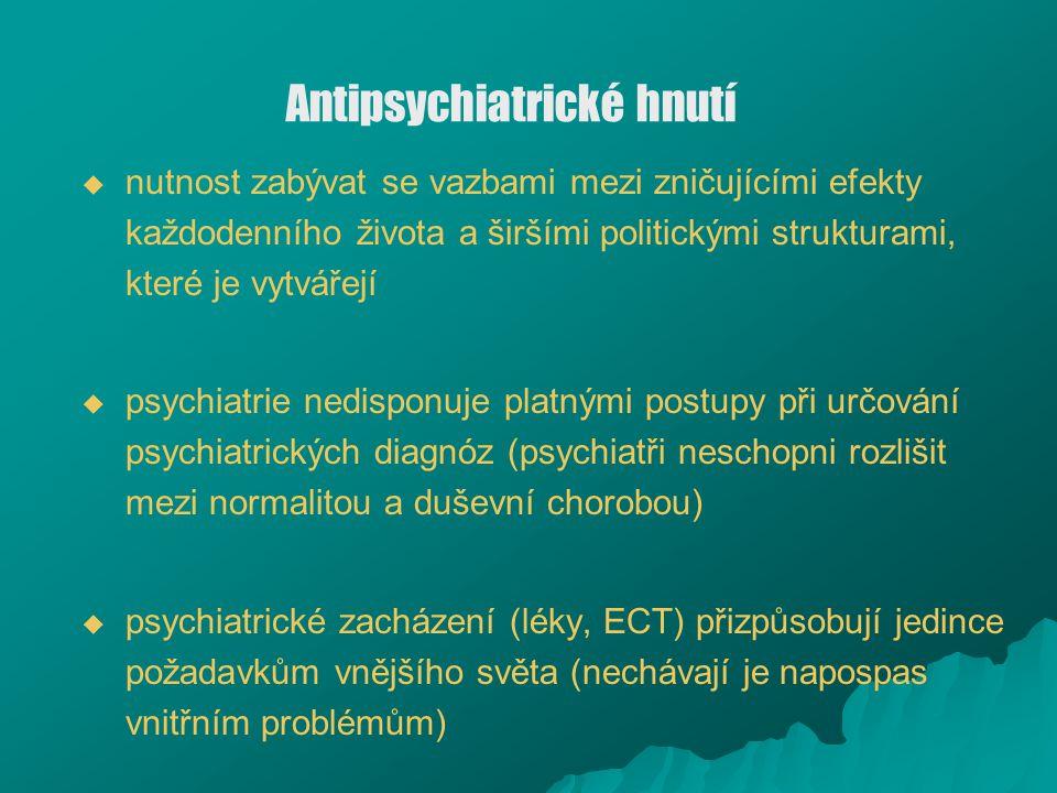 Antipsychiatrické hnutí   nutnost zabývat se vazbami mezi zničujícími efekty každodenního života a širšími politickými strukturami, které je vytváře
