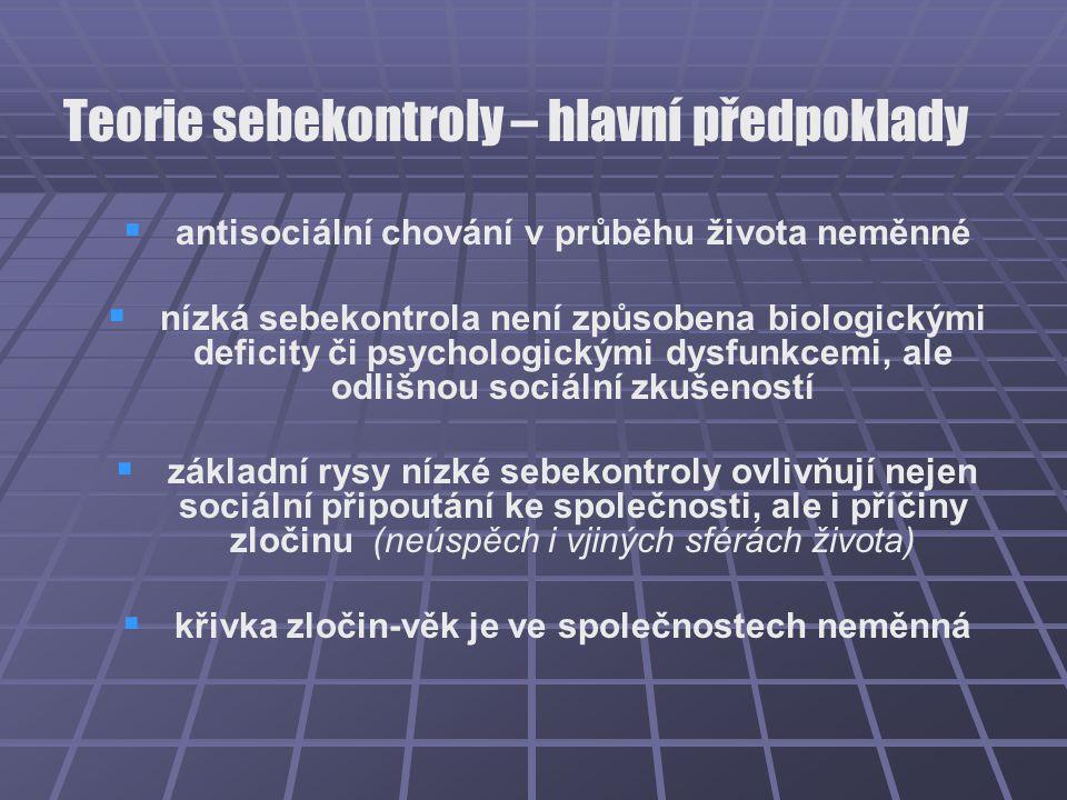 Teorie sebekontroly – hlavní předpoklady   antisociální chování v průběhu života neměnné   nízká sebekontrola není způsobena biologickými deficity