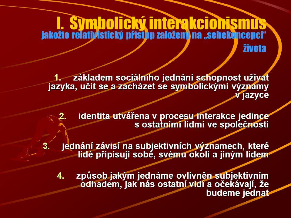 1.základem sociálního jednání schopnost užívat jazyka, učit se a zacházet se symbolickými významy v jazyce 2.identita utvářena v procesu interakce jed