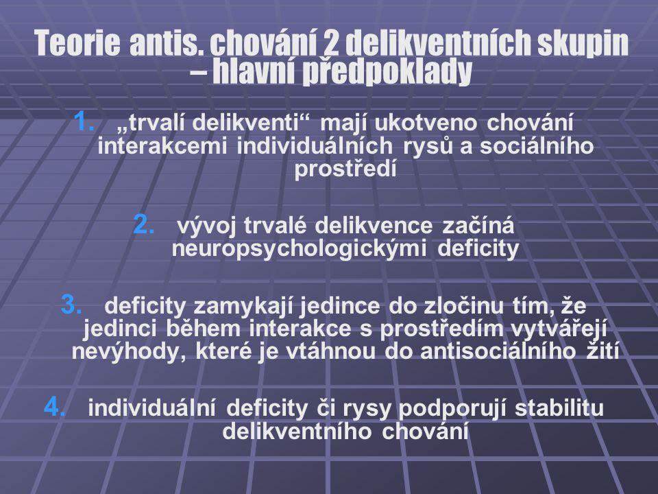"""Teorie antis. chování 2 delikventních skupin – hlavní předpoklady 1. 1. """"trvalí delikventi"""" mají ukotveno chování interakcemi individuálních rysů a so"""