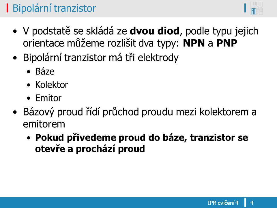 Bipolární tranzistor V podstatě se skládá ze dvou diod, podle typu jejich orientace můžeme rozlišit dva typy: NPN a PNP Bipolární tranzistor má tři el