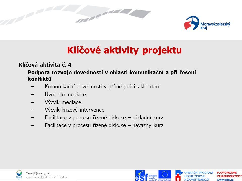 Zavedli jsme systém environmentálního řízení a auditu Klíčové aktivity projektu Klíčová aktivita č. 4 Podpora rozvoje dovedností v oblasti komunikační