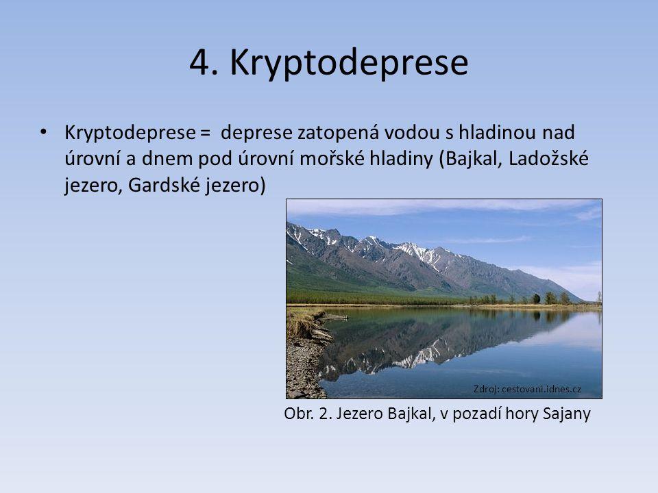 4. Kryptodeprese Kryptodeprese = deprese zatopená vodou s hladinou nad úrovní a dnem pod úrovní mořské hladiny (Bajkal, Ladožské jezero, Gardské jezer