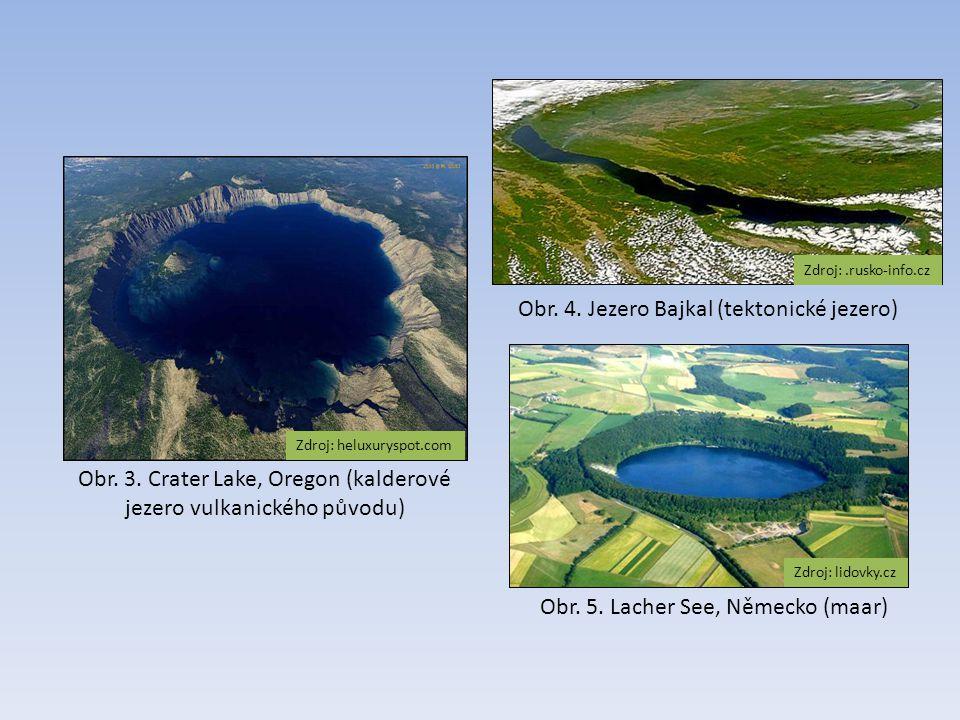 Obr. 3. Crater Lake, Oregon (kalderové jezero vulkanického původu) Zdroj: heluxuryspot.com Obr. 4. Jezero Bajkal (tektonické jezero) Zdroj:.rusko-info