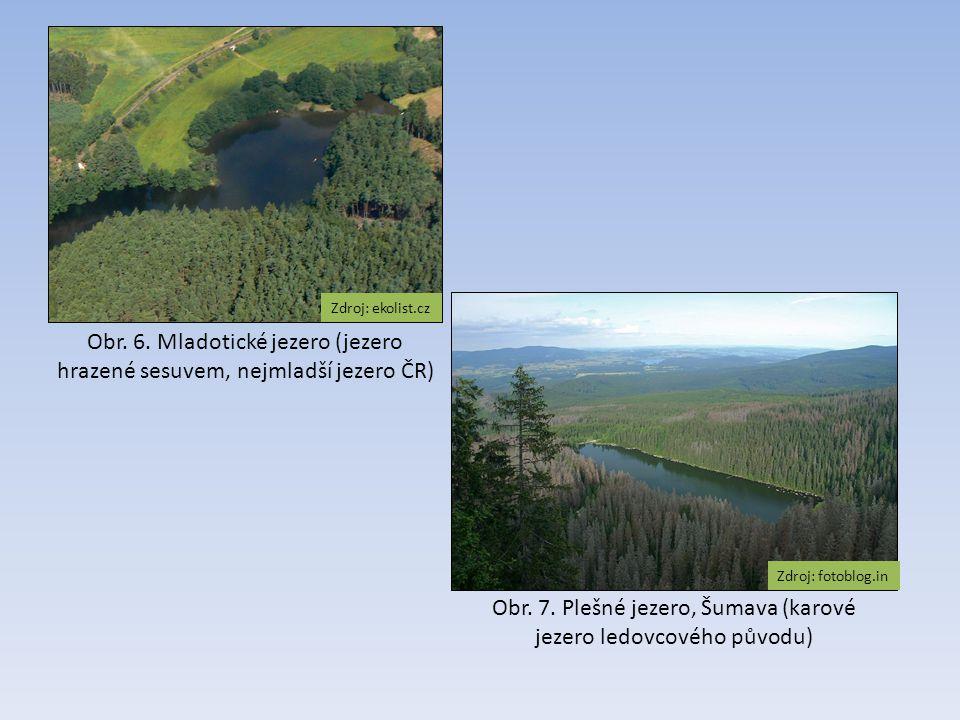 Obr. 7. Plešné jezero, Šumava (karové jezero ledovcového původu) Zdroj: fotoblog.in Obr. 6. Mladotické jezero (jezero hrazené sesuvem, nejmladší jezer