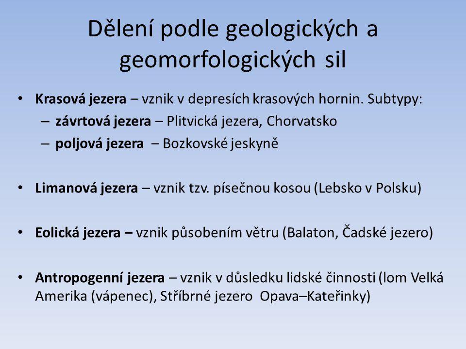 Dělení podle geologických a geomorfologických sil Krasová jezera – vznik v depresích krasových hornin.
