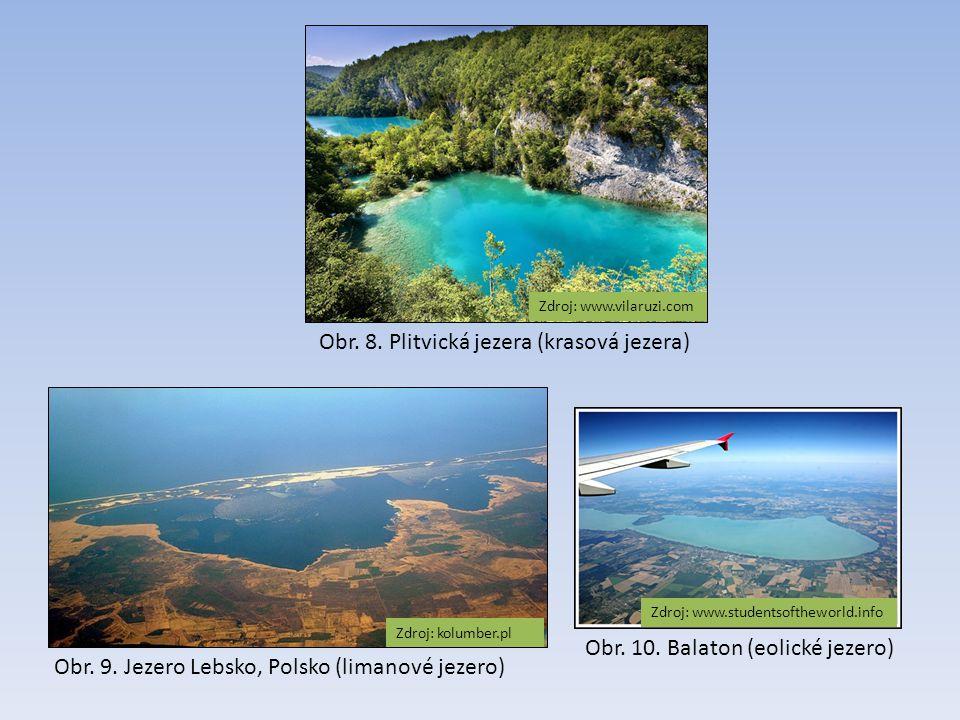 Obr. 8. Plitvická jezera (krasová jezera) Zdroj: www.vilaruzi.com Obr. 9. Jezero Lebsko, Polsko (limanové jezero) Obr. 10. Balaton (eolické jezero) Zd