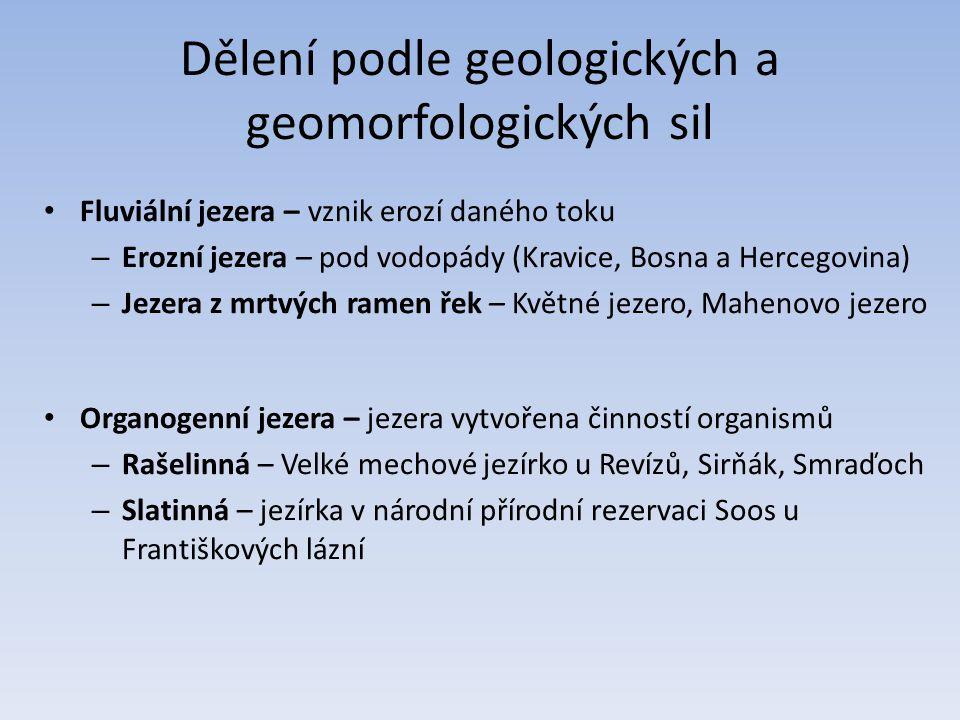 Dělení podle geologických a geomorfologických sil Fluviální jezera – vznik erozí daného toku – Erozní jezera – pod vodopády (Kravice, Bosna a Hercegovina) – Jezera z mrtvých ramen řek – Květné jezero, Mahenovo jezero Organogenní jezera – jezera vytvořena činností organismů – Rašelinná – Velké mechové jezírko u Revízů, Sirňák, Smraďoch – Slatinná – jezírka v národní přírodní rezervaci Soos u Františkových lázní
