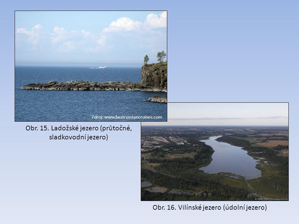 Zdroj: www.bestrussiancruises.com Obr. 15. Ladožské jezero (průtočné, sladkovodní jezero) Obr. 16. Vilínské jezero (údolní jezero)