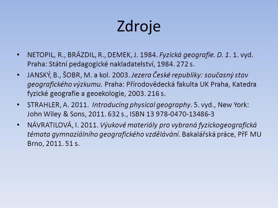 Zdroje NETOPIL, R., BRÁZDIL, R., DEMEK, J. 1984. Fyzická geografie. D. 1. 1. vyd. Praha: Státní pedagogické nakladatelství, 1984. 272 s. JANSKÝ, B., Š