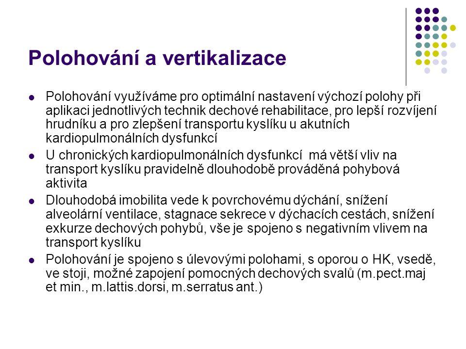 Polohování a vertikalizace Polohování využíváme pro optimální nastavení výchozí polohy při aplikaci jednotlivých technik dechové rehabilitace, pro lepší rozvíjení hrudníku a pro zlepšení transportu kyslíku u akutních kardiopulmonálních dysfunkcí U chronických kardiopulmonálních dysfunkcí má větší vliv na transport kyslíku pravidelně dlouhodobě prováděná pohybová aktivita Dlouhodobá imobilita vede k povrchovému dýchání, snížení alveolární ventilace, stagnace sekrece v dýchacích cestách, snížení exkurze dechových pohybů, vše je spojeno s negativním vlivem na transport kyslíku Polohování je spojeno s úlevovými polohami, s oporou o HK, vsedě, ve stoji, možné zapojení pomocných dechových svalů (m.pect.maj et min., m.lattis.dorsi, m.serratus ant.)
