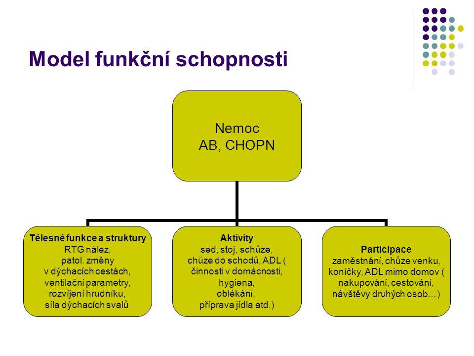 Model funkční schopnosti Nemoc AB, CHOPN Tělesné funkce a struktury RTG nález, patol.