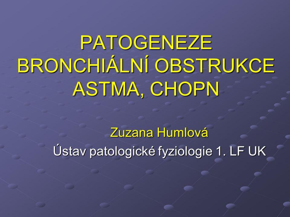 PATOGENEZE BRONCHIÁLNÍ OBSTRUKCE ASTMA, CHOPN Zuzana Humlová Ústav patologické fyziologie 1. LF UK