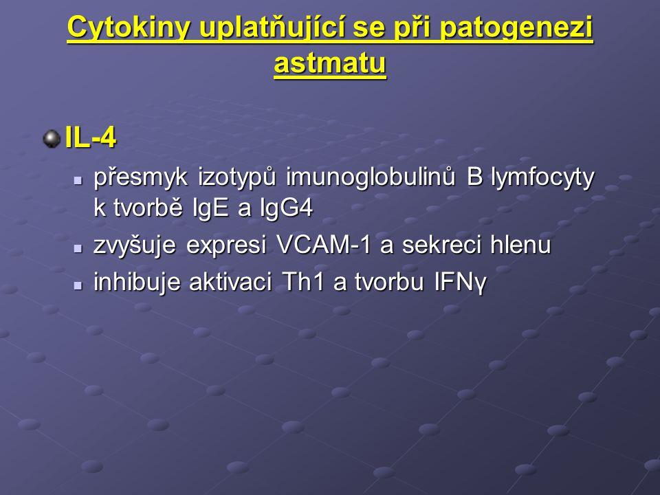 Cytokiny uplatňující se při patogenezi astmatu IL-4 přesmyk izotypů imunoglobulinů B lymfocyty k tvorbě IgE a IgG4 přesmyk izotypů imunoglobulinů B lymfocyty k tvorbě IgE a IgG4 zvyšuje expresi VCAM-1 a sekreci hlenu zvyšuje expresi VCAM-1 a sekreci hlenu inhibuje aktivaci Th1 a tvorbu IFNγ inhibuje aktivaci Th1 a tvorbu IFNγ