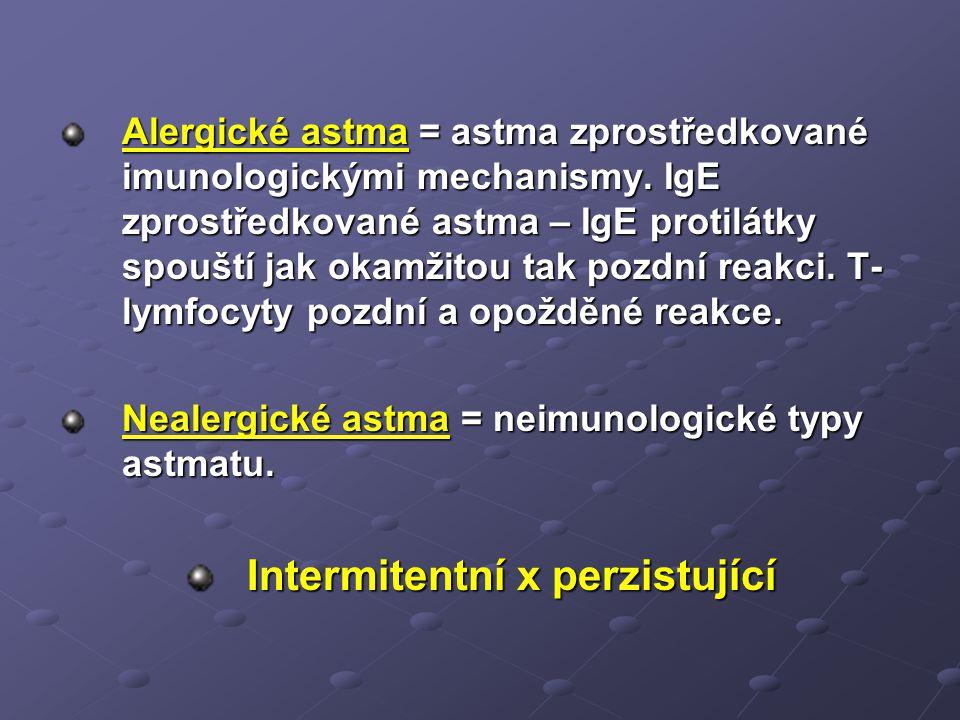 Zánět navozuje obstrukci: akutní bronchokonstrikcí akutní bronchokonstrikcí otokem stěny dýchacích cest otokem stěny dýchacích cest chronickou tvorbou hlenu chronickou tvorbou hlenu přestavbou (remodelací) stěny dýchacích cest přestavbou (remodelací) stěny dýchacích cest