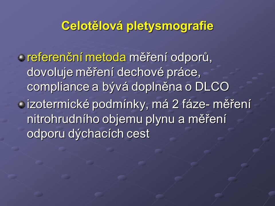 Celotělová pletysmografie referenční metoda měření odporů, dovoluje měření dechové práce, compliance a bývá doplněna o DLCO izotermické podmínky, má 2 fáze- měření nitrohrudního objemu plynu a měření odporu dýchacích cest