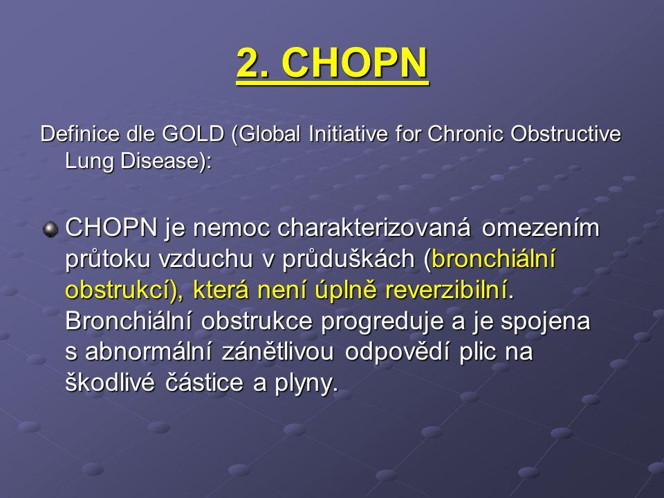 2. CHOPN Definice dle GOLD (Global Initiative for Chronic Obstructive Lung Disease): CHOPN je nemoc charakterizovaná omezením průtoku vzduchu v průduš