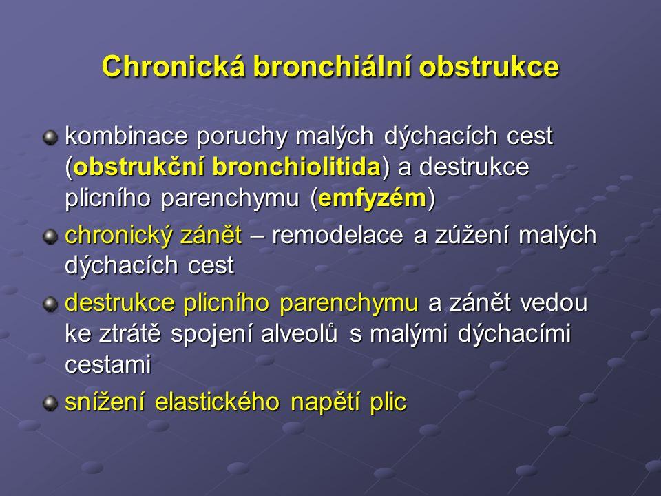 Chronická bronchiální obstrukce kombinace poruchy malých dýchacích cest (obstrukční bronchiolitida) a destrukce plicního parenchymu (emfyzém) chronický zánět – remodelace a zúžení malých dýchacích cest destrukce plicního parenchymu a zánět vedou ke ztrátě spojení alveolů s malými dýchacími cestami snížení elastického napětí plic