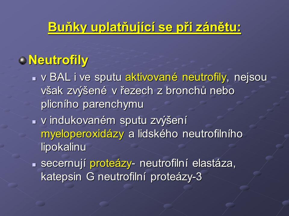Buňky uplatňující se při zánětu: Neutrofily v BAL i ve sputu aktivované neutrofily, nejsou však zvýšené v řezech z bronchů nebo plicního parenchymu v BAL i ve sputu aktivované neutrofily, nejsou však zvýšené v řezech z bronchů nebo plicního parenchymu v indukovaném sputu zvýšení myeloperoxidázy a lidského neutrofilního lipokalinu v indukovaném sputu zvýšení myeloperoxidázy a lidského neutrofilního lipokalinu secernují proteázy- neutrofilní elastáza, katepsin G neutrofilní proteázy-3 secernují proteázy- neutrofilní elastáza, katepsin G neutrofilní proteázy-3