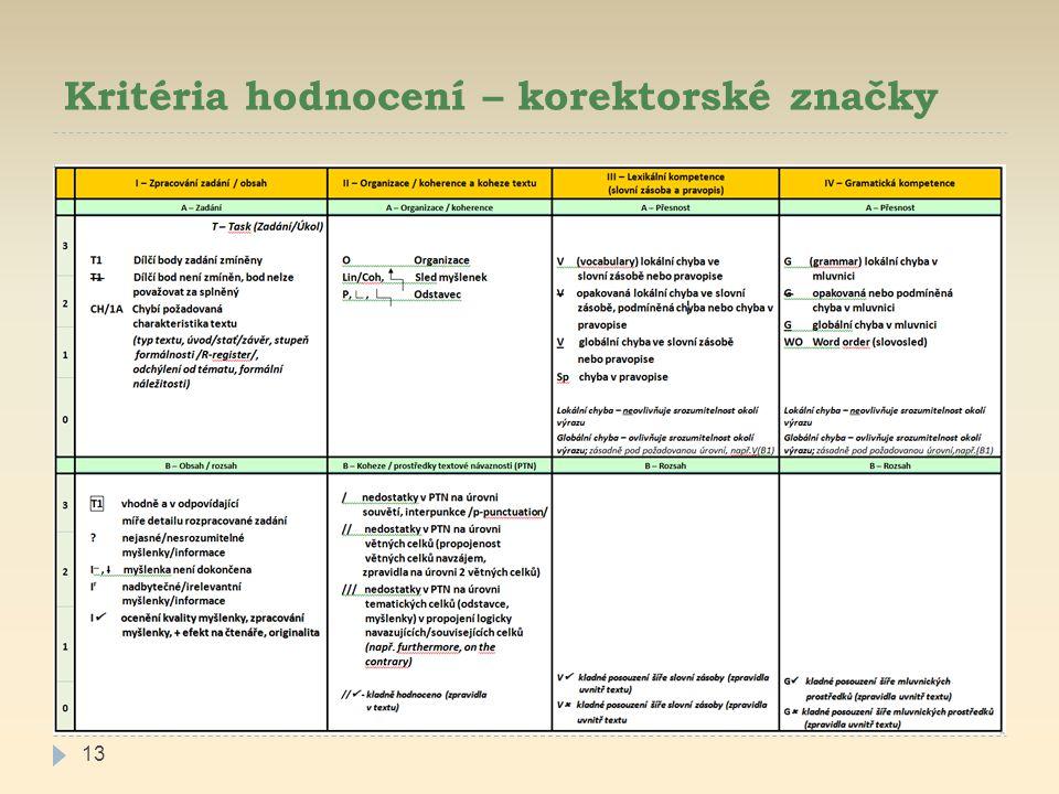 Kritéria hodnocení – korektorské značky 13