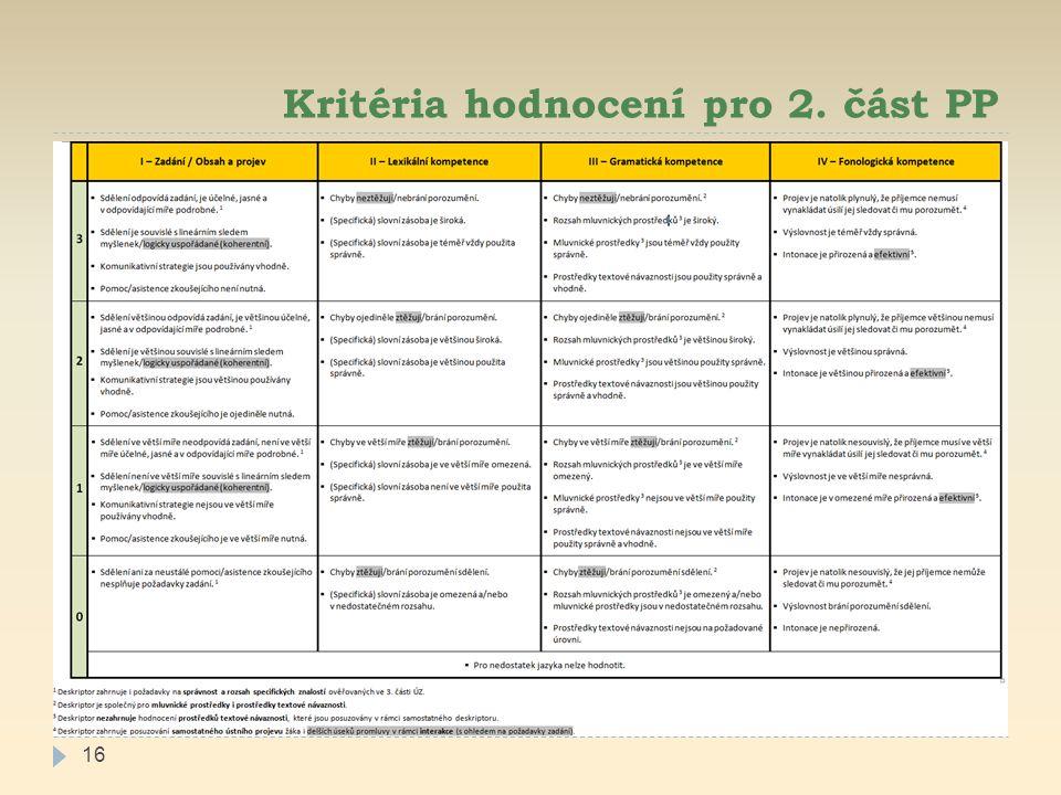Kritéria hodnocení pro 2. část PP 16