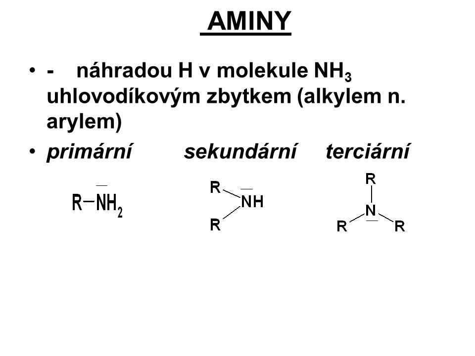 AMINY -náhradou H v molekule NH 3 uhlovodíkovým zbytkem (alkylem n. arylem) primární sekundární terciární