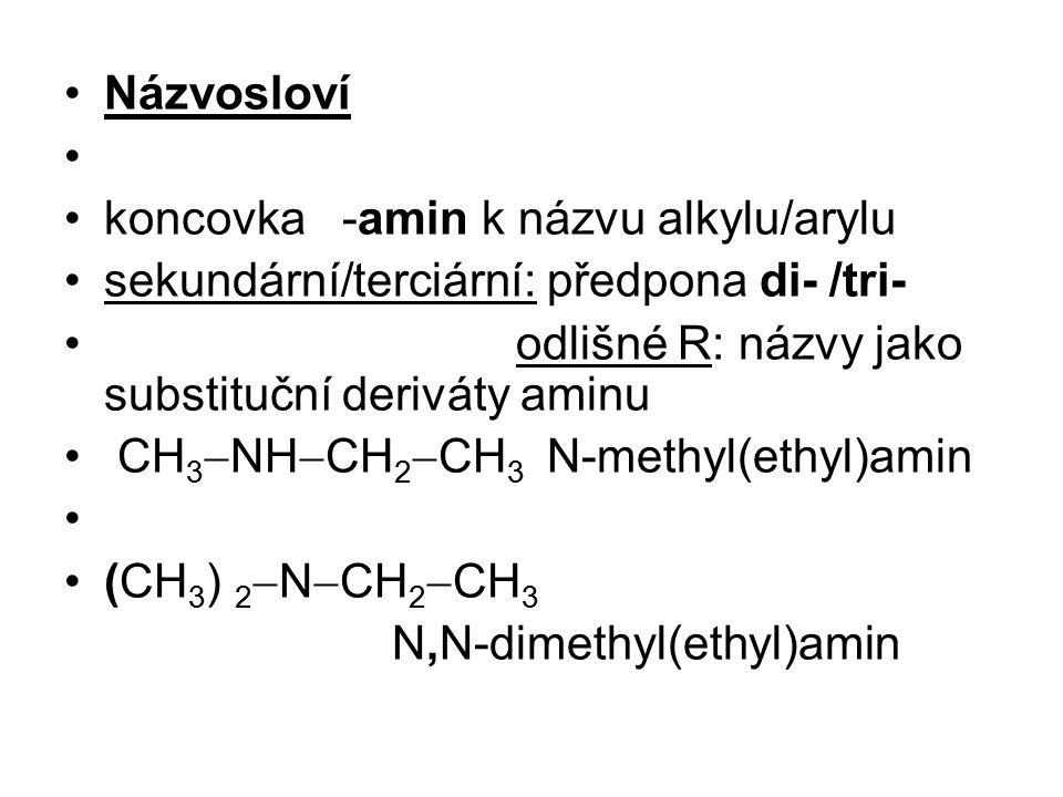 Názvosloví koncovka -amin k názvu alkylu/arylu sekundární/terciární: předpona di- /tri- odlišné R: názvy jako substituční deriváty aminu CH 3  NH  C