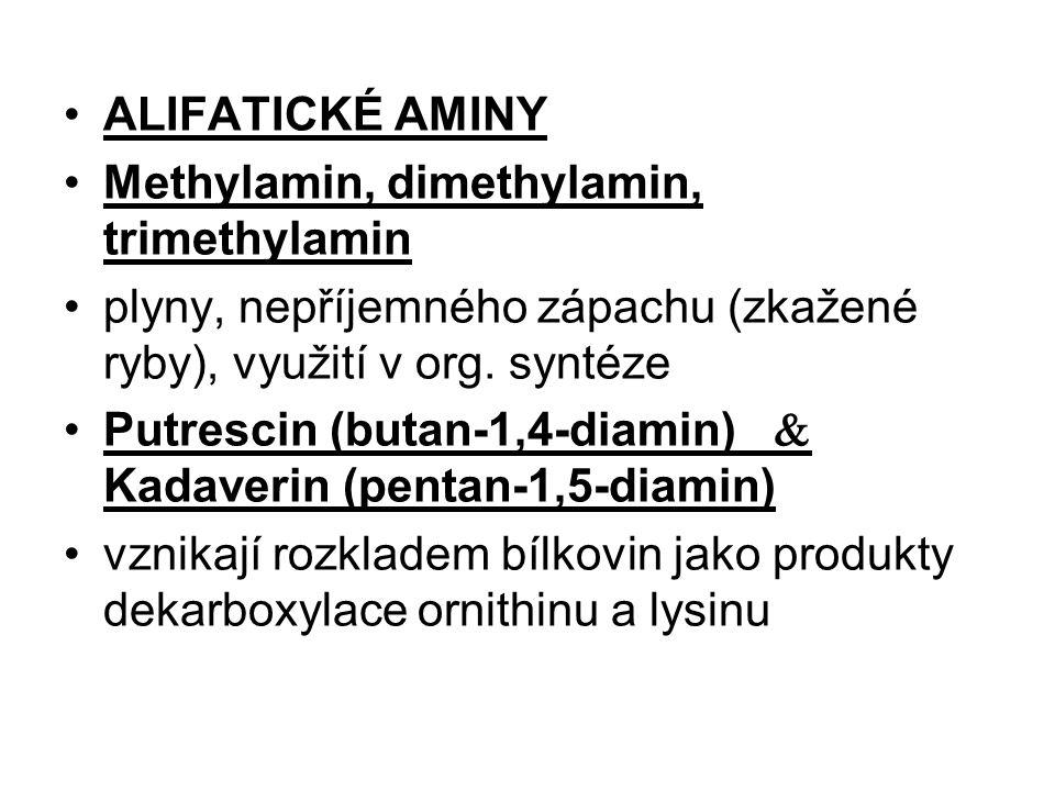 ALIFATICKÉ AMINY Methylamin, dimethylamin, trimethylamin plyny, nepříjemného zápachu (zkažené ryby), využití v org. syntéze Putrescin (butan-1,4-diami