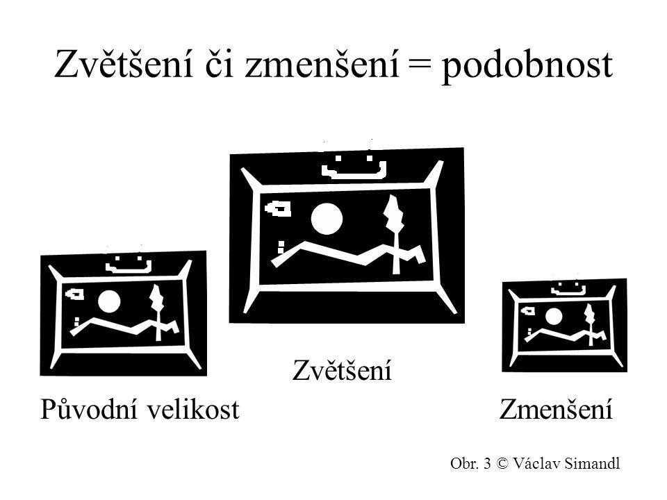 Zvětšení či zmenšení = podobnost Zvětšení Původní velikost Zmenšení Obr. 3 © Václav Simandl