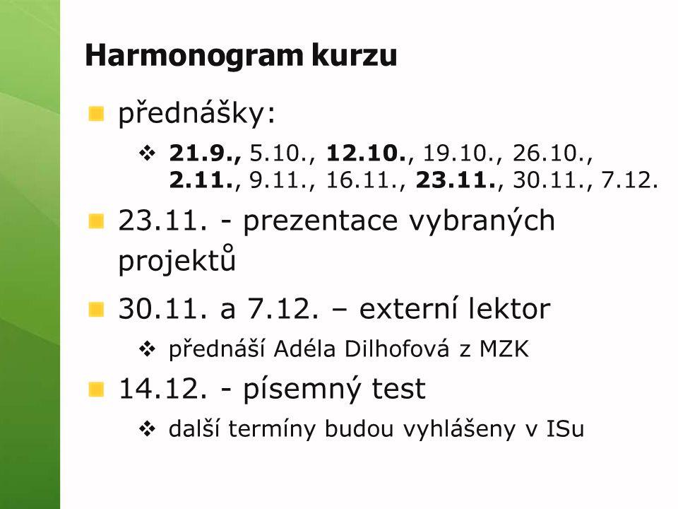 Harmonogram kurzu přednášky:  21.9., 5.10., 12.10., 19.10., 26.10., 2.11., 9.11., 16.11., 23.11., 30.11., 7.12. 23.11. - prezentace vybraných projekt