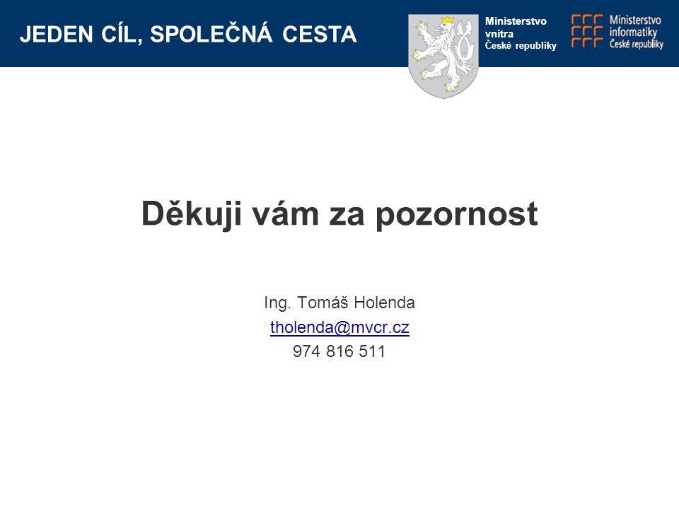 JEDEN CÍL, SPOLEČNÁ CESTA Ministerstvo vnitra České republiky Děkuji vám za pozornost Ing. Tomáš Holenda tholenda@mvcr.cz 974 816 511