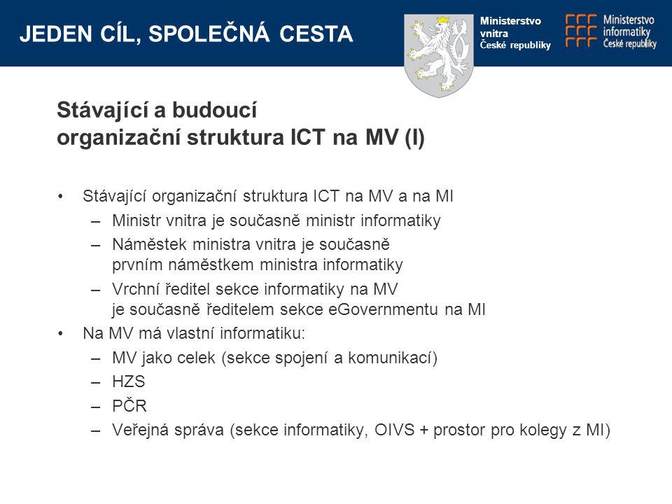 JEDEN CÍL, SPOLEČNÁ CESTA Ministerstvo vnitra České republiky Stávající a budoucí organizační struktura ICT na MV (I) Stávající organizační struktura ICT na MV a na MI –Ministr vnitra je současně ministr informatiky –Náměstek ministra vnitra je současně prvním náměstkem ministra informatiky –Vrchní ředitel sekce informatiky na MV je současně ředitelem sekce eGovernmentu na MI Na MV má vlastní informatiku: –MV jako celek (sekce spojení a komunikací) –HZS –PČR –Veřejná správa (sekce informatiky, OIVS + prostor pro kolegy z MI)