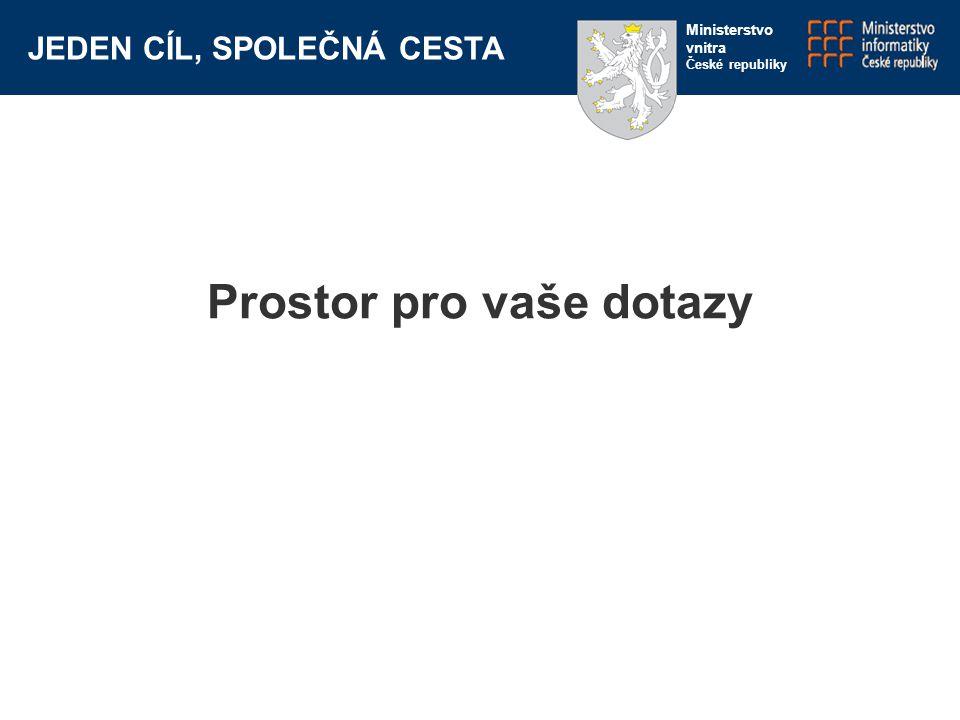 JEDEN CÍL, SPOLEČNÁ CESTA Ministerstvo vnitra České republiky Prostor pro vaše dotazy