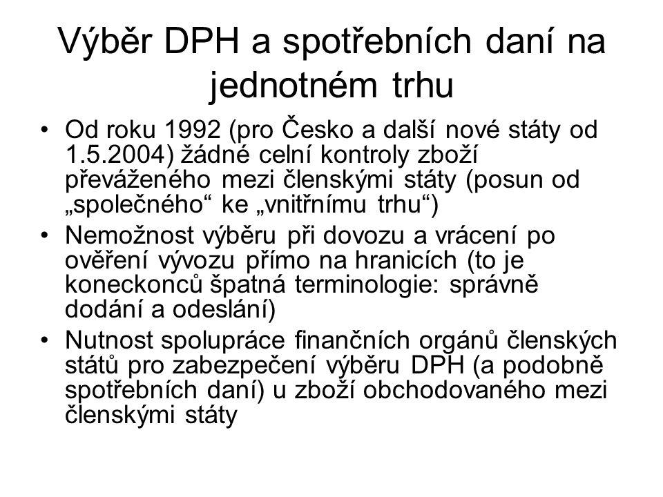 """Výběr DPH a spotřebních daní na jednotném trhu Od roku 1992 (pro Česko a další nové státy od 1.5.2004) žádné celní kontroly zboží převáženého mezi členskými státy (posun od """"společného ke """"vnitřnímu trhu ) Nemožnost výběru při dovozu a vrácení po ověření vývozu přímo na hranicích (to je koneckonců špatná terminologie: správně dodání a odeslání) Nutnost spolupráce finančních orgánů členských států pro zabezpečení výběru DPH (a podobně spotřebních daní) u zboží obchodovaného mezi členskými státy"""