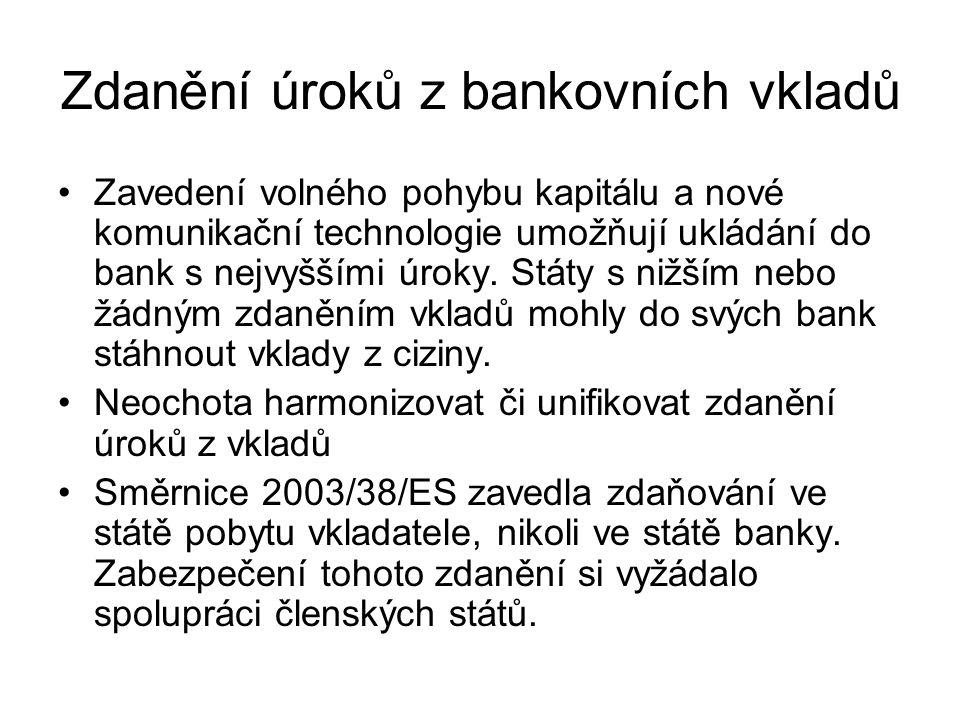 Zdanění úroků z bankovních vkladů Zavedení volného pohybu kapitálu a nové komunikační technologie umožňují ukládání do bank s nejvyššími úroky.