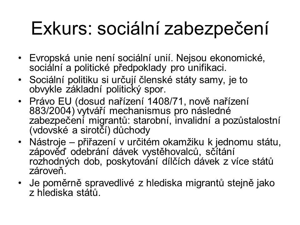 Exkurs: sociální zabezpečení Evropská unie není sociální unií.