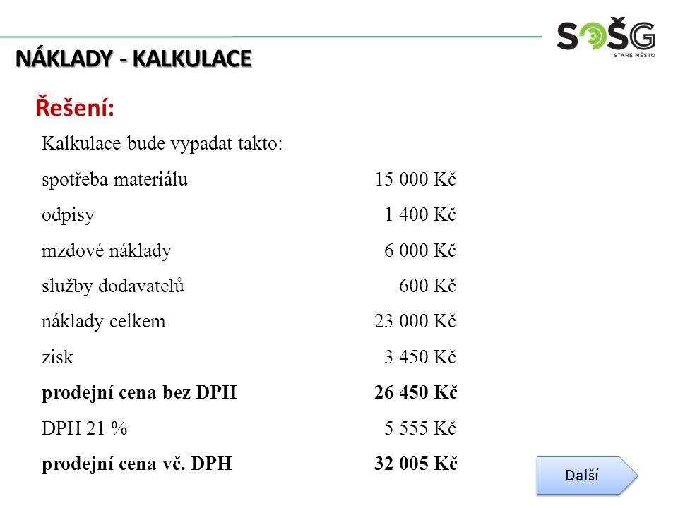 NÁKLADY - KALKULACE Řešení: Kalkulace bude vypadat takto: spotřeba materiálu15 000 Kč odpisy 1 400 Kč mzdové náklady 6 000 Kč služby dodavatelů 600 Kč náklady celkem23 000 Kč zisk 3 450 Kč prodejní cena bez DPH26 450 Kč DPH 21 % 5 555 Kč prodejní cena vč.