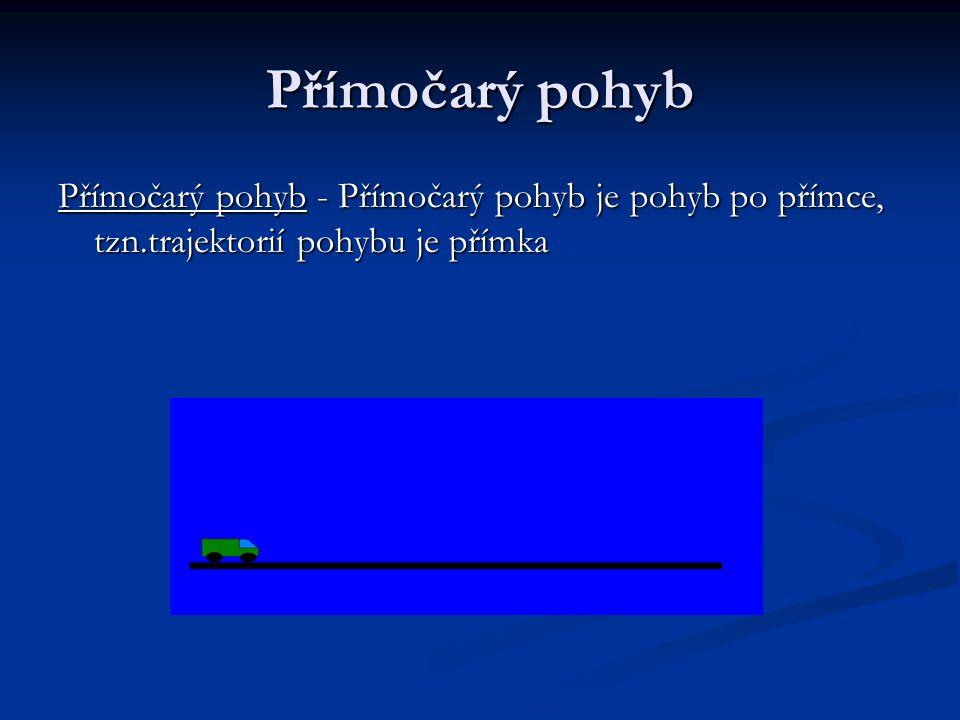Přímočarý pohyb Přímočarý pohyb - Přímočarý pohyb je pohyb po přímce, tzn.trajektorií pohybu je přímka