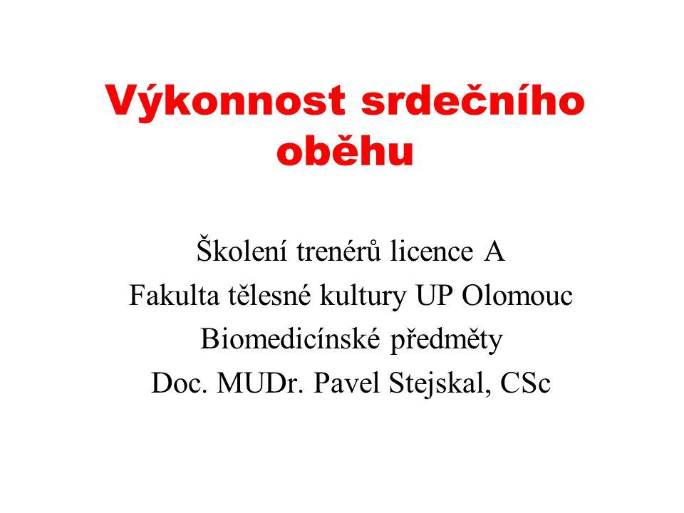Výkonnost srdečního oběhu Školení trenérů licence A Fakulta tělesné kultury UP Olomouc Biomedicínské předměty Doc.