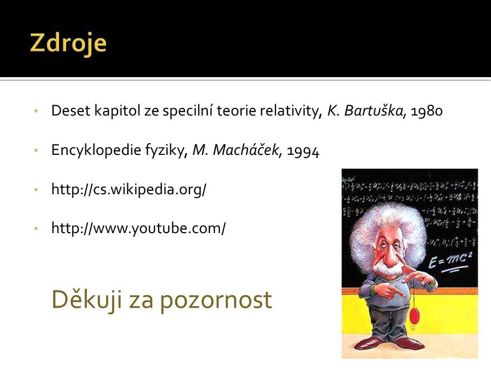 Deset kapitol ze specilní teorie relativity, K. Bartuška, 1980 Encyklopedie fyziky, M. Macháček, 1994 http://cs.wikipedia.org/ http://www.youtube.com/