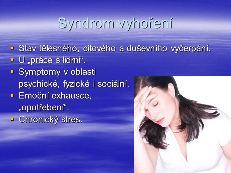 """Syndrom vyhoření  Stav tělesného, citového a duševního vyčerpání.  U """"práce s lidmi"""".  Symptomy v oblasti psychické, fyzické i sociální.  Emoční e"""